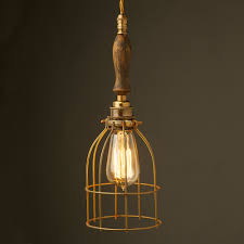 well known brass trouble light cage pendant wooden handle ap57