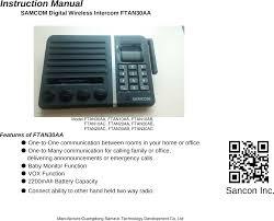 Ftan30aa Intercom User Manual Ftan30a Xlsx Guangdong Samzuk