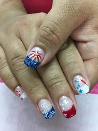 Gel Nail Designs For 4th Of July 4th Of July Patriotic Stars Fireworks Rocket French Shimmer