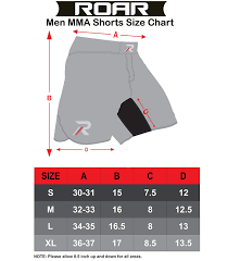 Cage Fighter Shorts Size Chart Amazon Com Roar Mma Shorts Ufc Cage Fight Grappling Muay