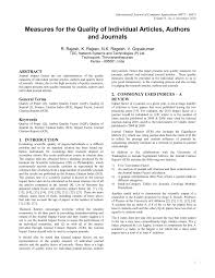 Pdf Measures For The Quality Of Individual Articles Authors And