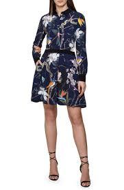 Gilda Tropical Print Long Sleeve Shirtdress