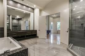 Modern Master Bathroom with Brown Marble Mixed with Glossy Chocolate Glass  Mosaic Tile Mesh Backed Sheet