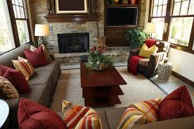 brown and red living room ideas. Living Room Ideas : Brown And Red Rustic Design With Brick Wall Containing A Fireplace Television Cream Carpet 2016 Elegant L
