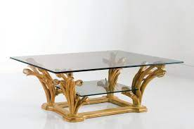coffee table with glass top and wooden