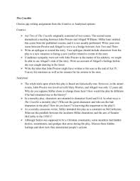essay topics for the crucible the crucible choose one writing assignment from the creative or