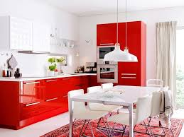 Retro Red Kitchen Modern Red And White Kitchen Design With Ceramic Floor And Ceiling