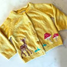 Mini Boden Intarsia Honey Deer Cardigan 12 18 M