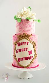 Pink Sweet Sixteen Birthday Cake With Sugar Gardenias Veena Azmanov