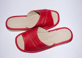 women s red leather house slippers larger image