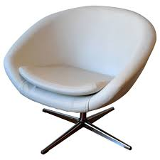 luxury ideas white swivel chair 1960s egg in leather with chrome base for
