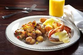 Lobster Benedict - Two poached eggs ...