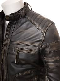 men s vintage leather biker jacket eggesford side