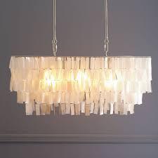 large rectangle hanging capiz chandelier white