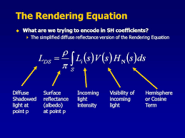 the rendering equation what are we trying to encode in sh coefficients