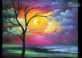 beautiful abstract landscape art oil painting size 24x36