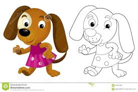 Small Picture Cartoon Girl Dog Coloring Page With Preview Stock Illustration