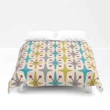 mid century modern abstract star pattern 441 gray brown turquoise olive green duvet cover
