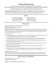 Cv Primary School Teacher Cv Format For A Teacher Elementary School Teacher Resume Template