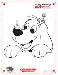 Clifford Printable Birthday Coloring Page