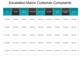 Escalation Matrix Customer Complaints Ppt Template