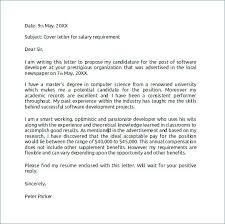 Sample Cover Letter With Salary History And Requirements Gallery Of