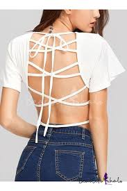 <b>Womens Sexy Crisscross</b> Strappy Hollow Out Back Short Sleeve ...