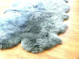 gray faux fur rug grey sheepskin quad large