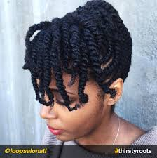 two strand twists bangs updo natural hairstyle