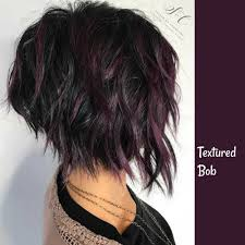 Textured Bob With Purple Highlights On