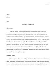 sweatshops essay sweat shops essay college essays 1193 words sweatshops