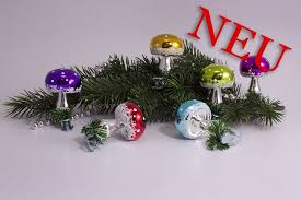 Neu 6 Bunte Fliegenpilze Aus Glas Mit Metallklemme Für Den Weihnachtsbaum