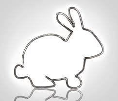 outline of bunny metal bunny outline metal rabbit outline bunny sculpture etsy