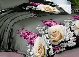 3d rose and hyacinth printed cotton 4 piece black bedding sets