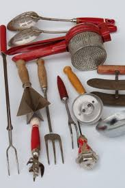 vintage kitchen tools. vintage kitchen utensils w/ red handles, painted wood handled spoons, toast forks, chopper tool tools