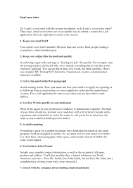 How To Write Email Cover Letter Sample Email To Send Resume For Job