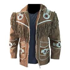 details about men brown western style suede leather jacket handmade cowboy fringe beads