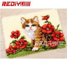 hot 3d latch hook rug kits diy needlework unfinished crocheting rug yarn cushion mat dog flores