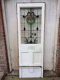 4 of 6 original 1920s 1930s leaded stained glass front door side panel