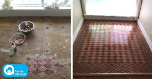 image of woman glues 150 worth of pennies to her ugly floor and creates this unbelievable