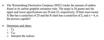 Graphite Bar Chart Solved The Warrensburg Electronics Company Wec Tracks T
