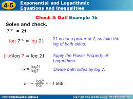 holt mcdougal algebra 2 4 5 exponential and logarithmic equations and inequalities solve and check