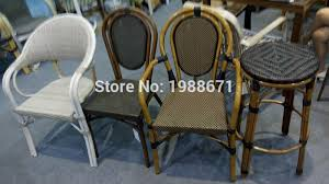 Outdoor Garden Bamboo Look New Design Pe Rattan Chair And Table Set Cafe Wicker Bistro