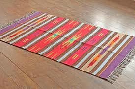 3 x5 hand woven striped multicolour traditional cotton kilim dhurrie area rug