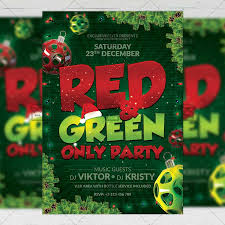 Green Party Flyer Red And Green Only Party Seasonal A5 Flyer Template