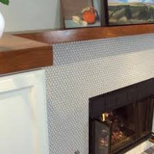 Penny Tile Fireplace Surround With Wood Mantel