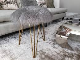 faux fur stool with gold hairpin legs