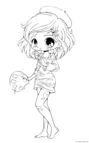 chibi coloring pages hair braids Coloring4free - Coloring4Free.com