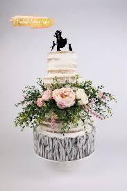 Naked Rustic Wedding Cake Cake By Fondant Custom Cakes By Tabi