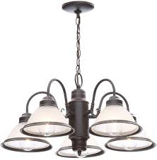 5 light oil rubbed bronze frosted glass shaded chandelier hanging fixture